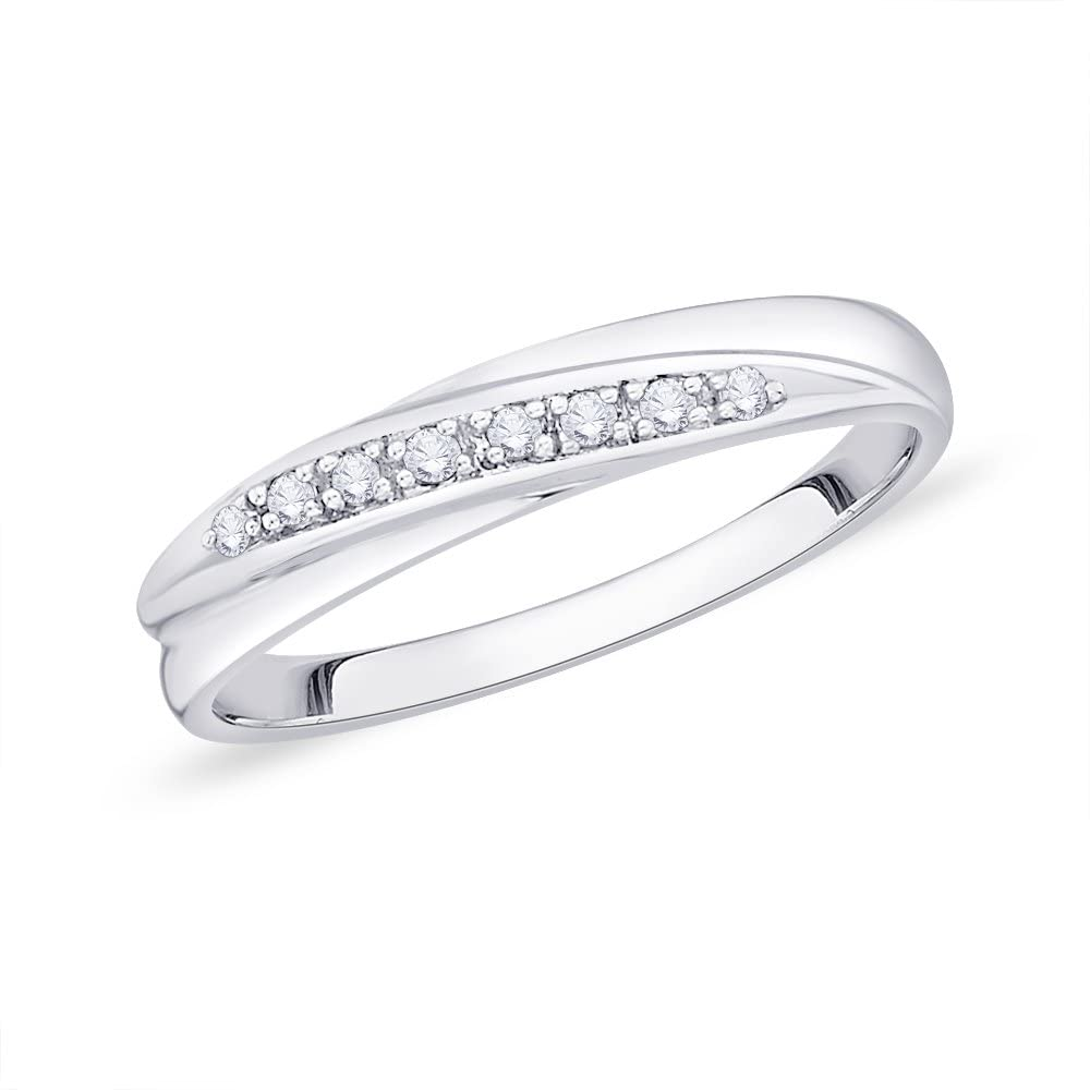 KATARINA Diamond Anniversary Wedding Band Stackable Ring in Sterling Silver (1/10 cttw)