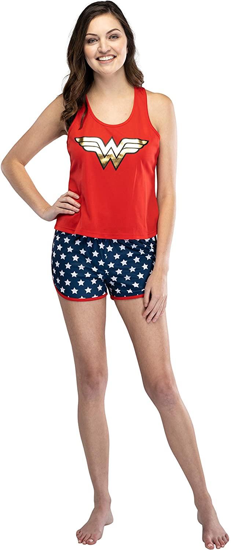 INTIMO Wonder Woman Logo Womens Mesh Tank & Shorts Pajama Set