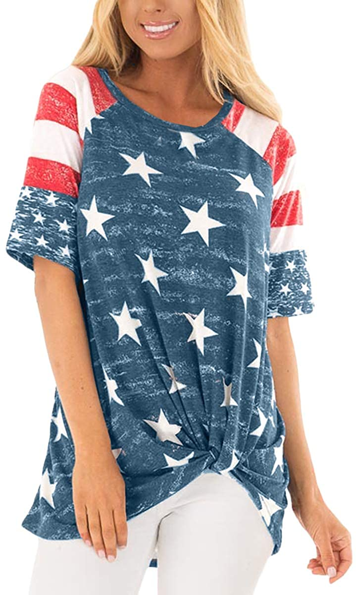 For G and PL Women's July 4th USA American Flag T Shirt Tops