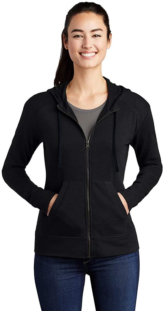 Sport-Tek Ladies PosiCharge Tri-Blend Wicking Fleece Full-Zip Hooded Jacket, Black Triad Solid, Medium