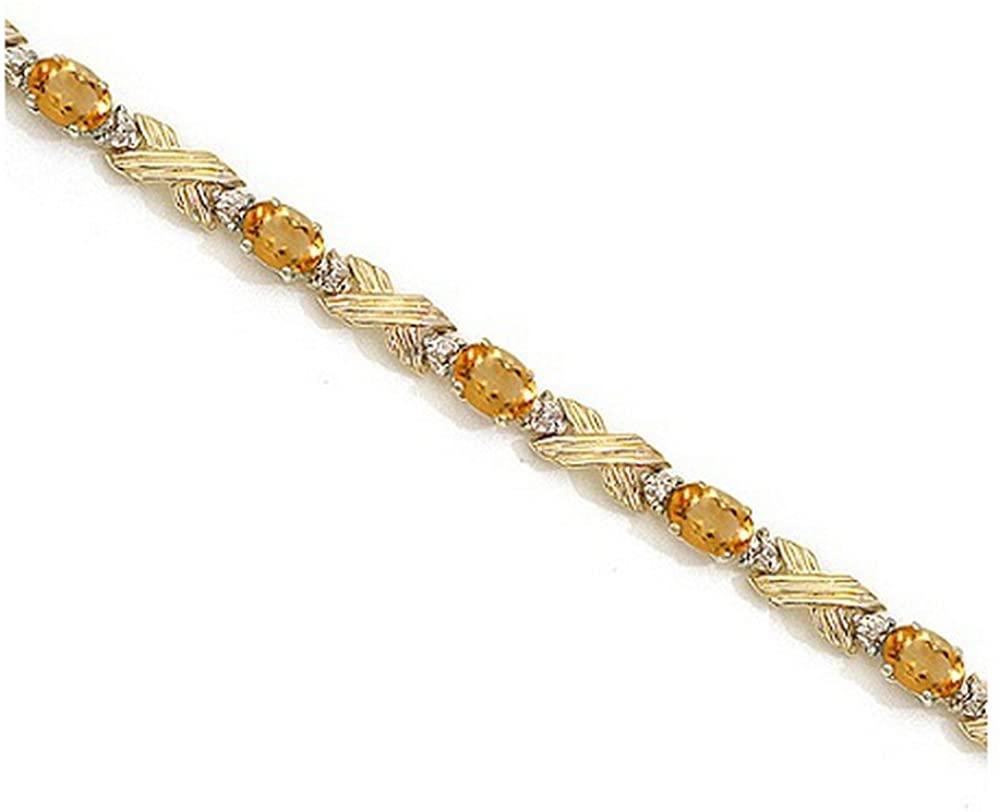14k Gold Citrine and Diamond XOXO Link Bracelet in (6.65ct)