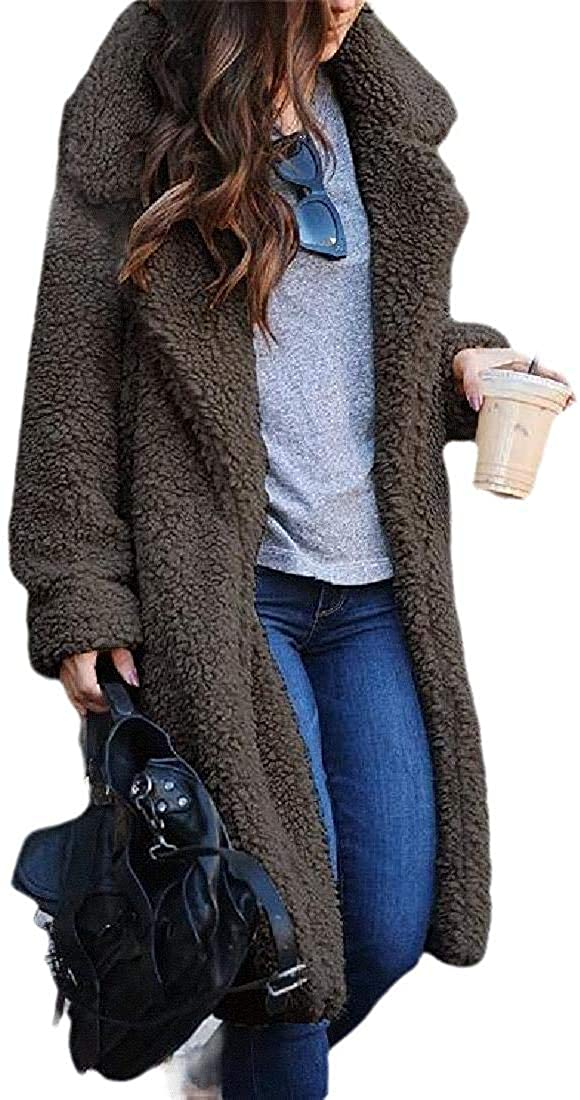 Jhsxydgy Women's Winter Long Sleeve Faux Fur Shearling Warm Shaggy Oversized Coat Fuzzy Jackets,Dark Grey,XX-Small
