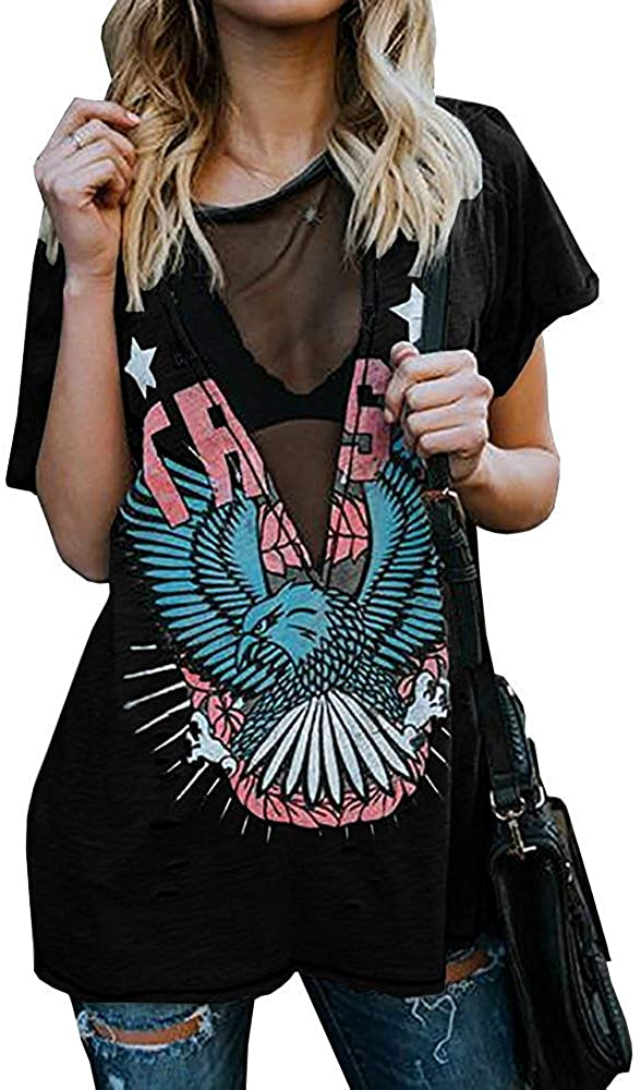 PASLTER Womens Distressed Eagle Print Shirts V Neck Sexy Mesh Sheer Punk Print Hole Graphic Short Sleeve Summer Tops