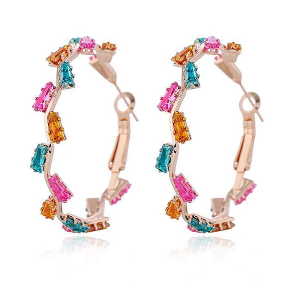 Gold Plated Copper Zircon Hoop Stud Earrings for Women, Glitter Zircon Inlaid Irregular Hoop Earrings for Girls