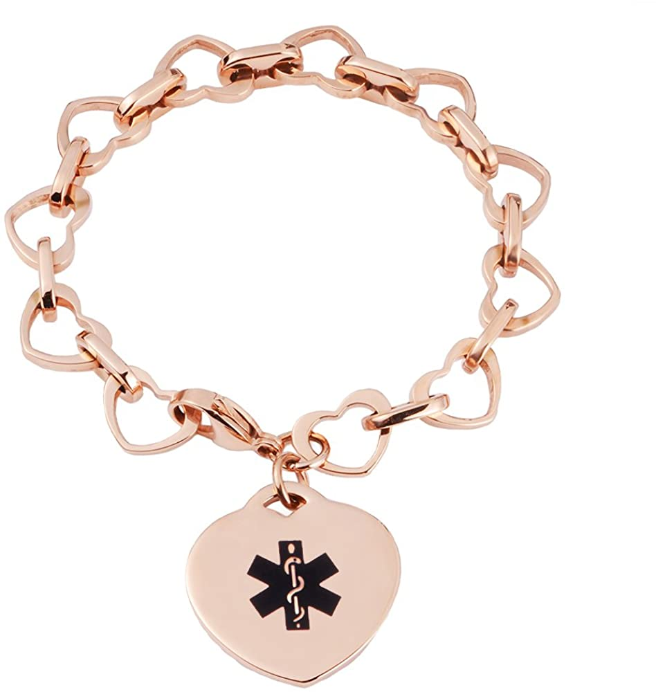 linnalove Heart to Heart Medical id Bracelet for Women with Free Engraving