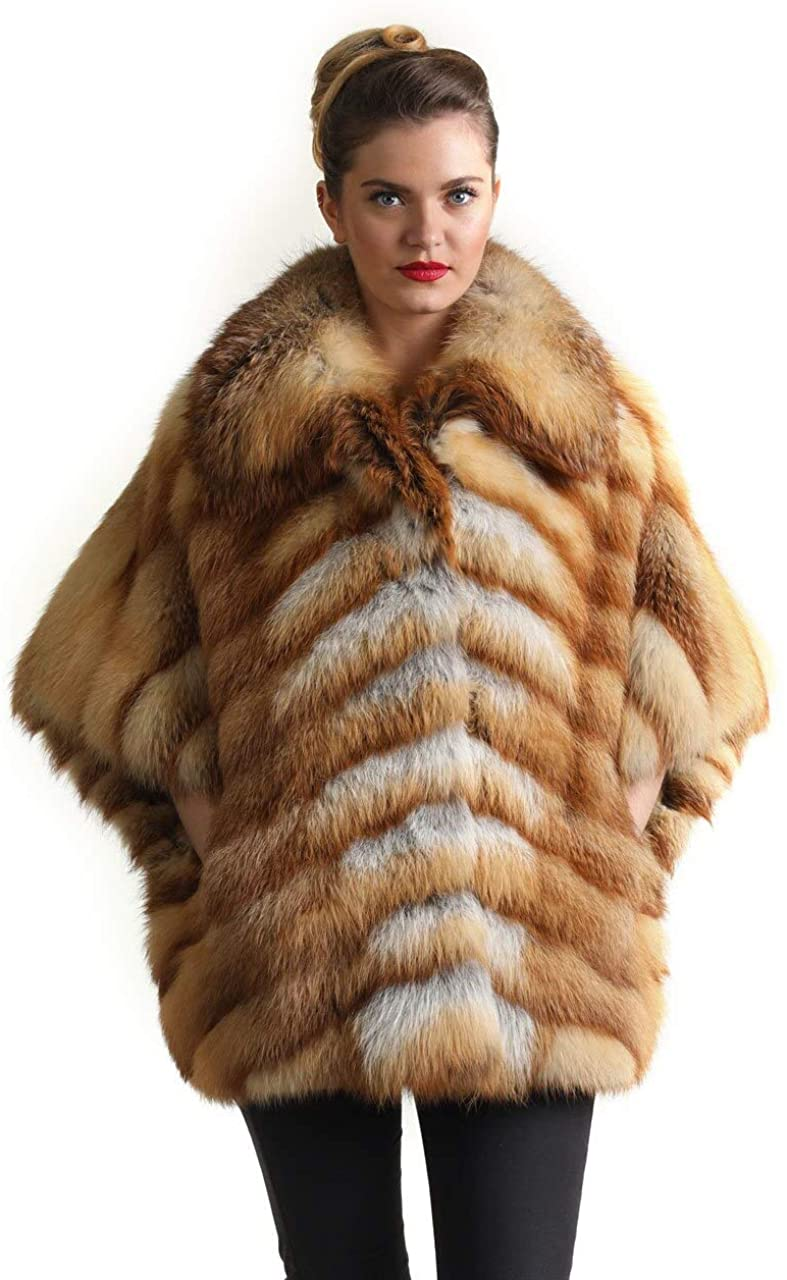 Women's Red Fox Fur Jacket Elbow Sleeves Diagonal Pattern