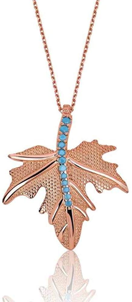KOKANA Sterling Silver Turquoise Stone Leaf Necklace