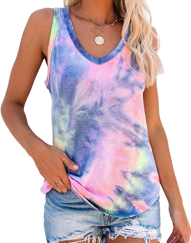 DUTISON Women V-Neck Tie Dye Tank Tops Summer Casual Loose Blouses Blouses Shirts Tees