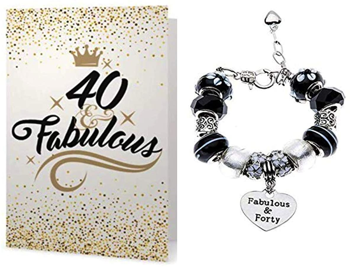Infinity Collection 40th Birthday Bracelet & Card Gift Set - 40 and Fabulous Charm Bracelet, 40th Birthday Gifts for Women, 40th Birthday Ideas, Gift for Her