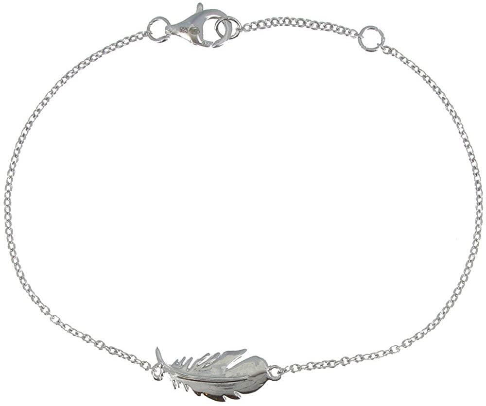 Les Poulettes Jewels - Rhodium Silver Bracelet Bird Feather