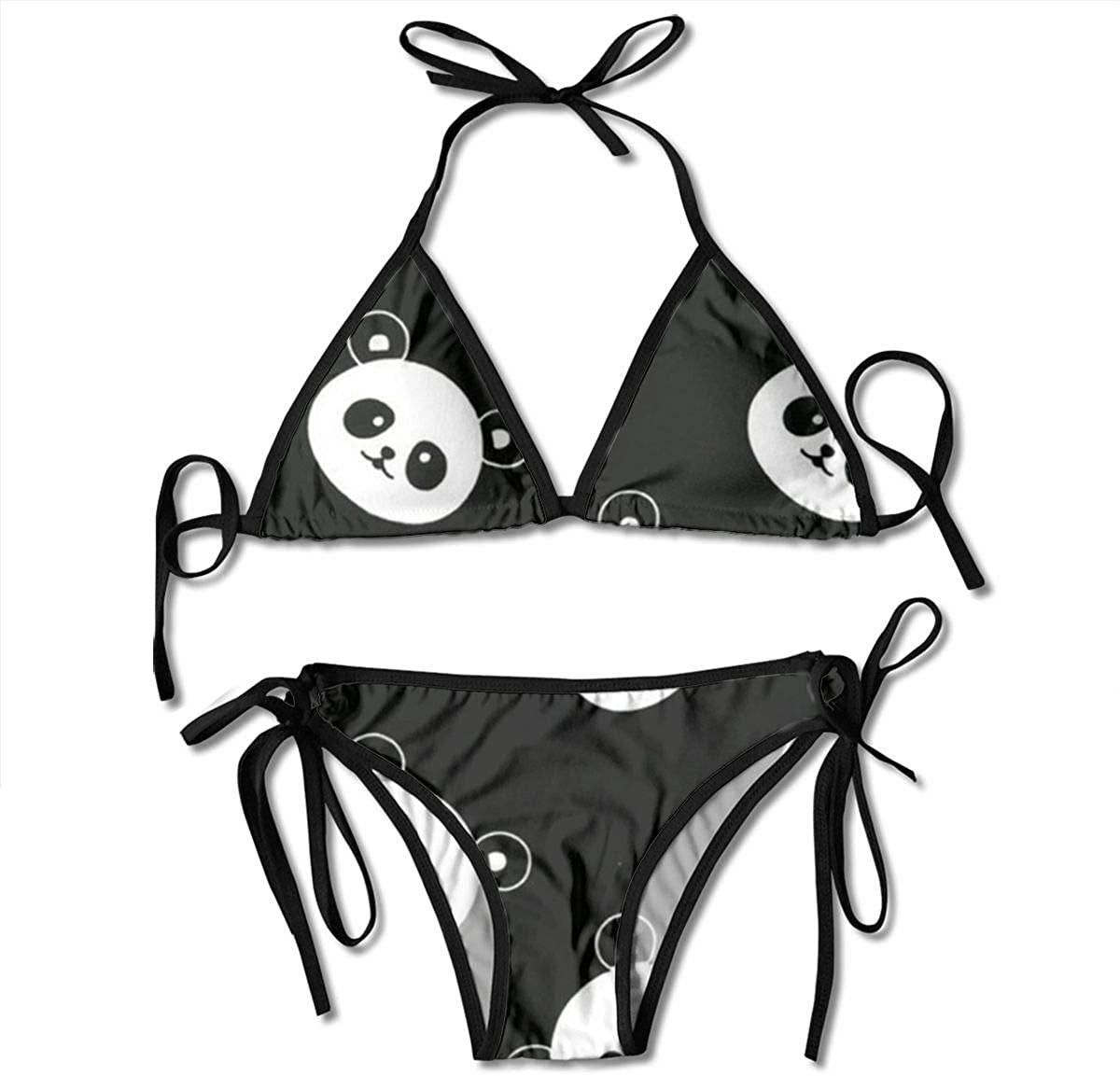 Ruin Panda Women's Two Piece Triangle Bikini Set Swimwear Swimsuits Beachwear