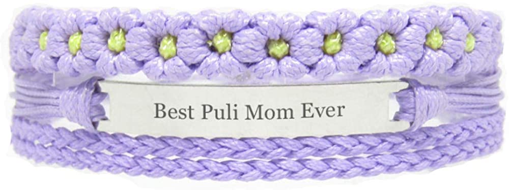 Miiras Pet Lover Engraved Handmade Bracelet for Women - Best Puli Mom Ever - Purple FL- Made of Braided Rope, Stainless Steel - Gift for Puli Mom