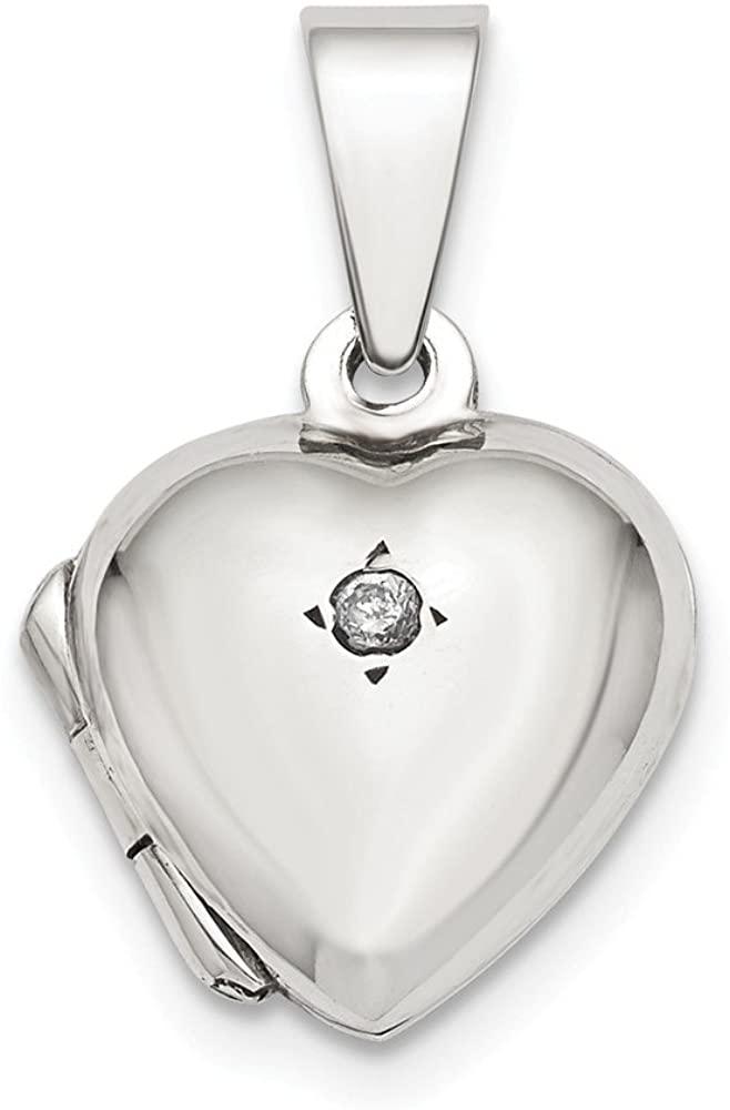 Jewelry Pendants & Charms Lockets Sterling Silver CZ Heart Locket