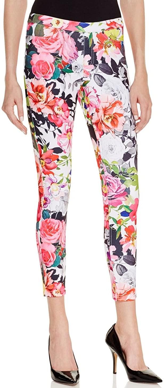 HUE Women's Floral Spring Twill Skimmer Leggings X-Small Multi