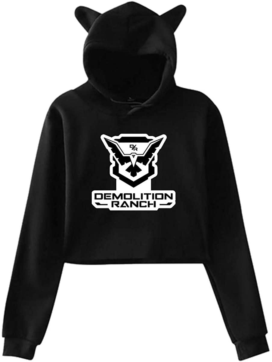 Women's Cat Ear Hoodie Sweater Sweatshirt Demolition Ranch Original Minimalist Style Black