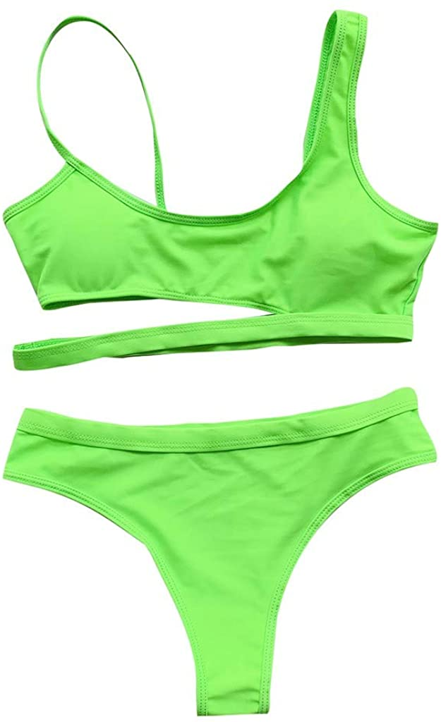 Cloudro ❤️ Women Sexy Solid Color Bandage Swimsuit Set, Womens Summer Bandeau Two-Piece Swimwear Swimsuit Push Up Bikini