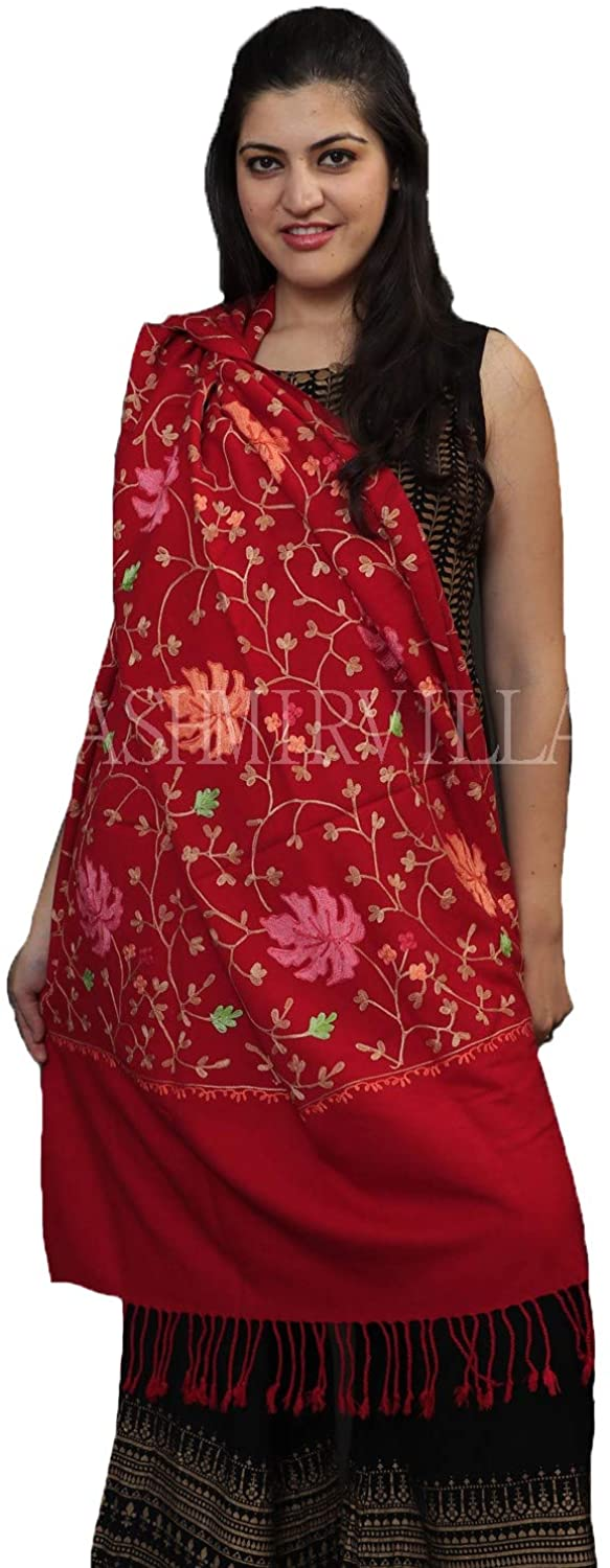 Kashmirvilla With The Base Of Semi Pashmina This Maroon Colour Kashida Shawl With OverAll Jaal Is A Perfect Wrap.