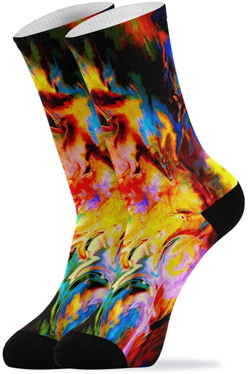 Crew Socks Unique Flames Tie Dye Novelty Casual Socks for Women Men Teen Boys Girls Unisex