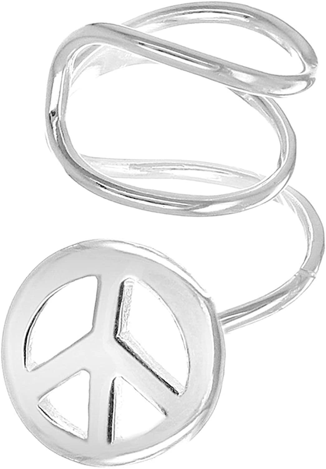 Sterling Silver Wire Peace Sign Ear Cuff