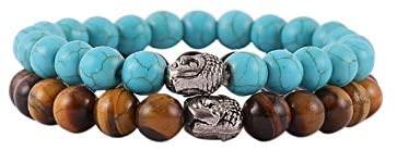 Aatm Natural Healing Gemstone Multi Stone Bracelet Buddha Beaded Charm Bracelet (Tiger Eye & Turquoise)