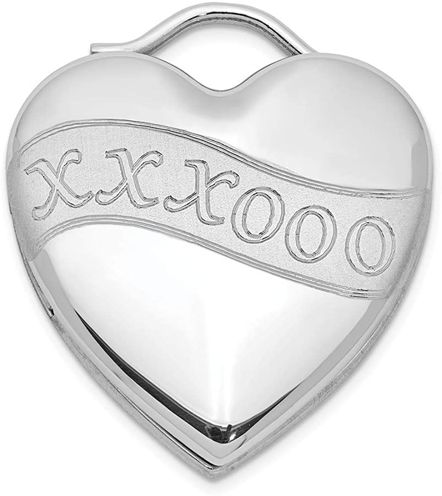 925 Sterling Silver Rhodium plated Brushed and Polished Xxxooo Love Heart Photo Locket Pendant Necklace Jewelry Gifts for Women