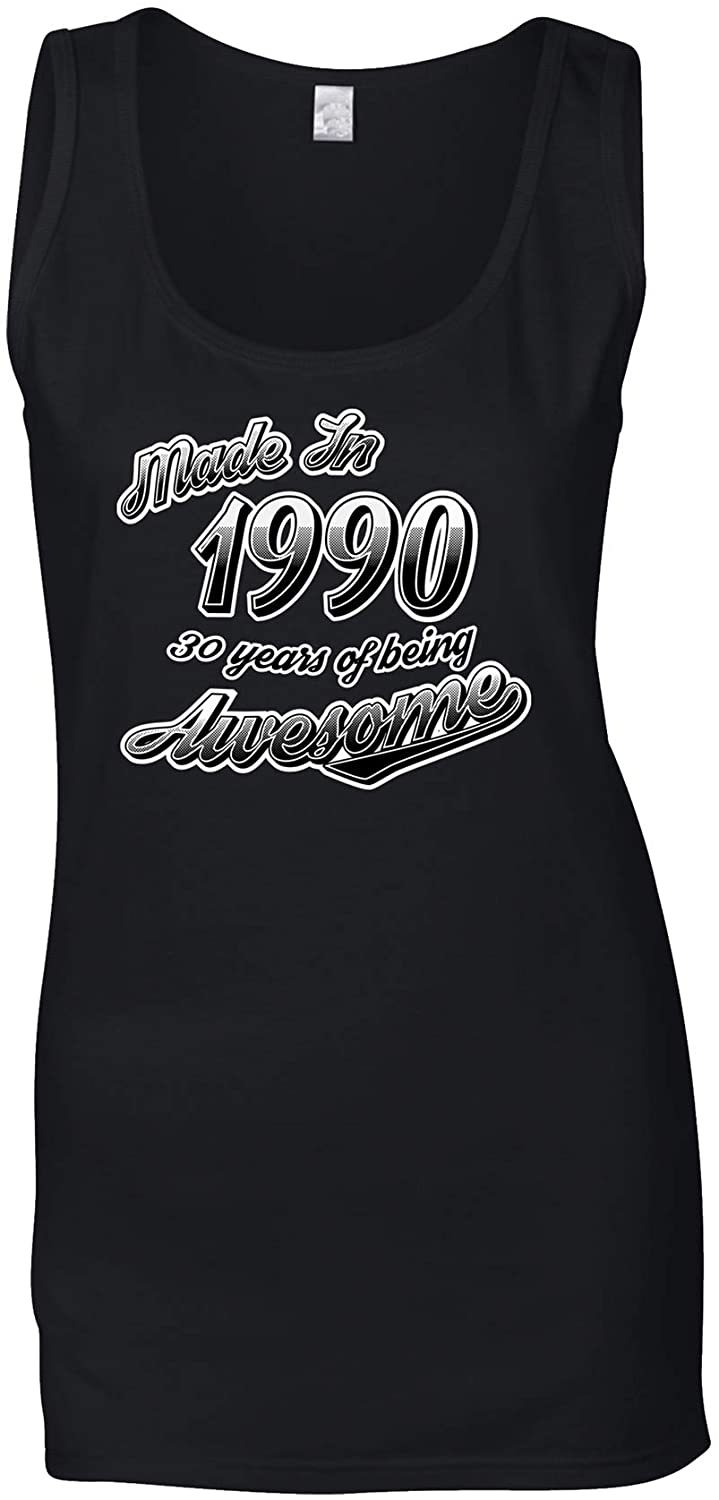 30th Birthday Ladies Vest Made in 1990 30 Years of Awesome