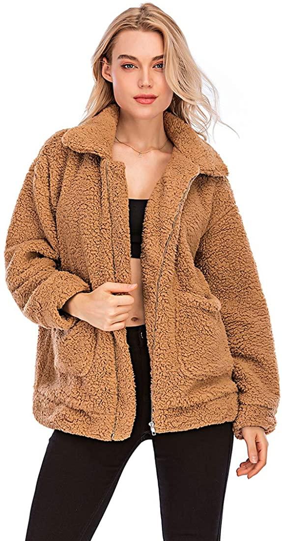YYW Jackets for Women,Casual Fleece Fuzzy Faux Shearling Warm Winter Oversized Outwear Jackets Shaggy Coat
