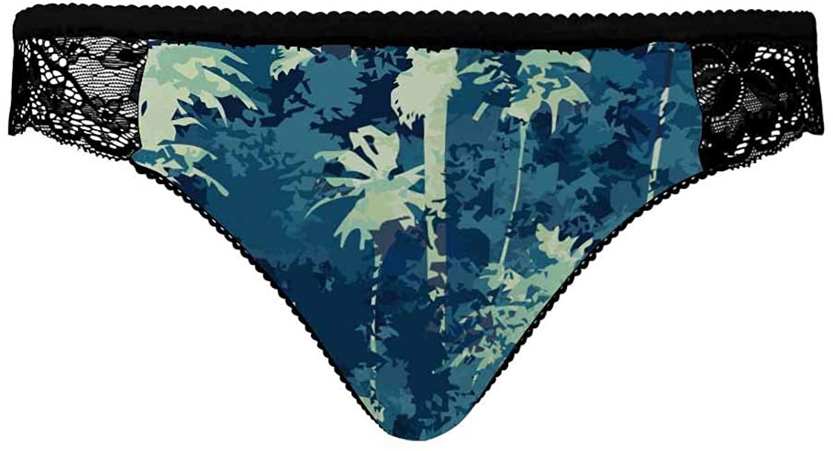 INTERESTPRINT Underwear Panties Hipster Panties Lace Briefs for Women Palm Trees