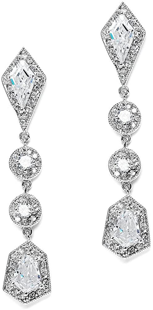 Mariell Empress & Noble Cut Cubic Zirconia Wedding Earrings - Art Deco Vintage Bridal Jewelry