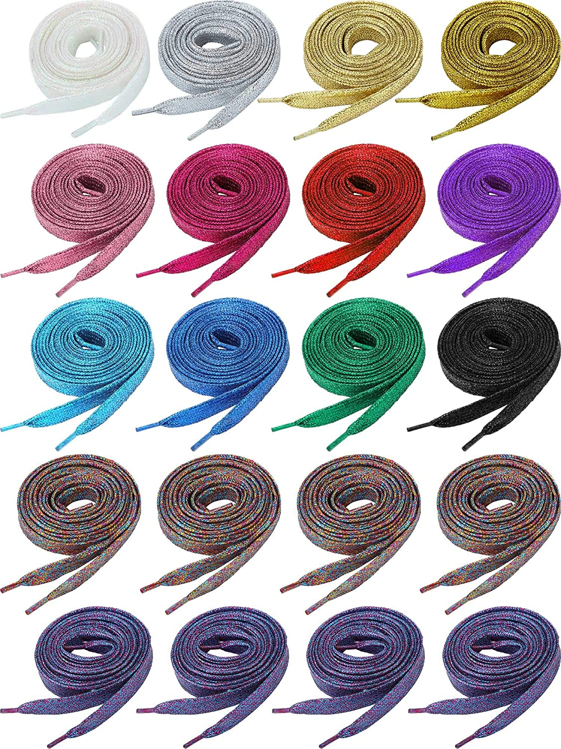 20 Pairs Glitter Flat Shoelaces Solid Colors Shoe Laces Replacement for Team Sneakers