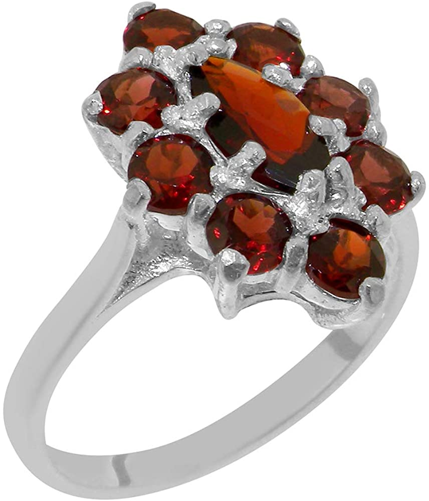 Solid 10k White Gold Natural Garnet Womens Cluster Ring - Sizes 4 to 12 Available