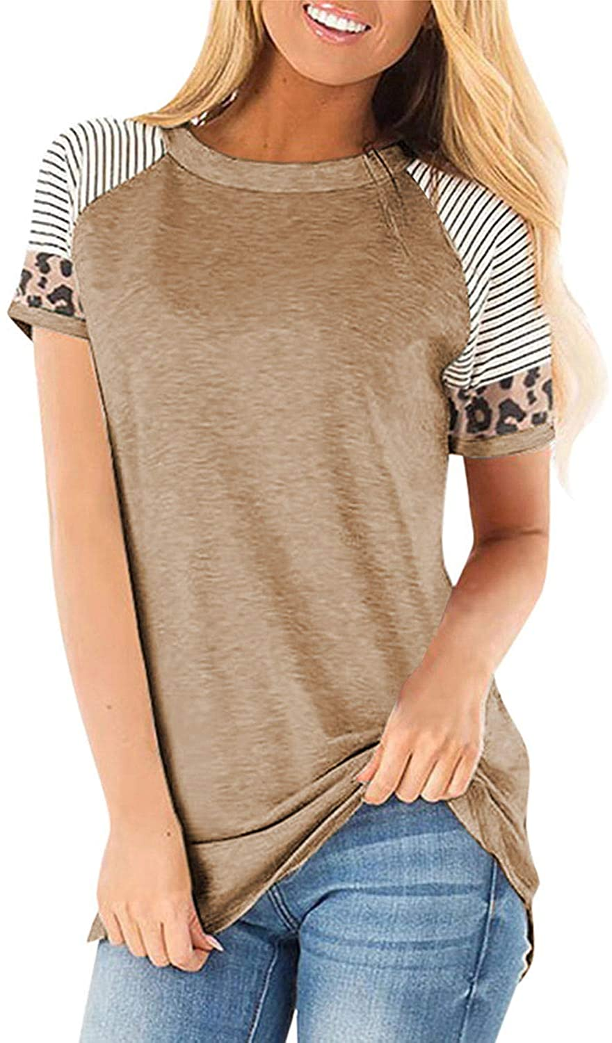 CoolooC Womens Casual T Shirts Leopard Print Patchwork Striped Short Sleeve Tunic Tops Blouses