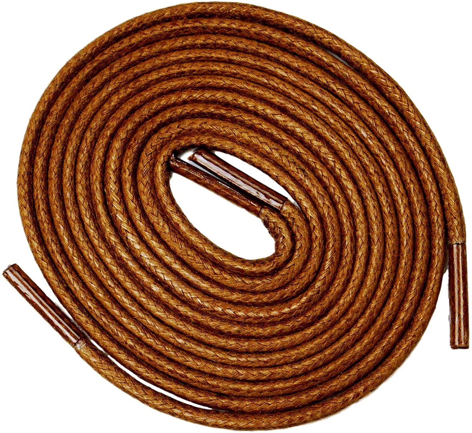 Ortholaces [2 Pairs] Waxed Round Oxford Shoe Laces for Dress Shoes, for Men-Shoe Strings, Tan