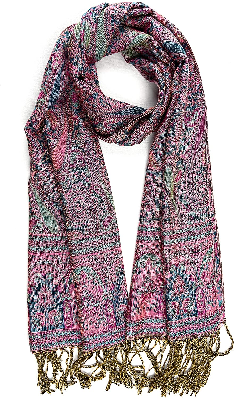 New Women's Woven Jacquard Paisley Pashmina Silk Shawl Warm Reversible Scarf Wrap Stole