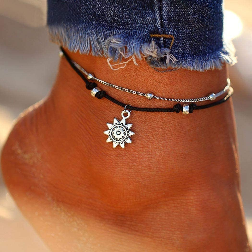 Vivilly Boho Layered Anklets Bracelet Silver Sunflower Pendant Sandbeach Multilayer Anklet Foot Chain Adjustable for Women and Girls.