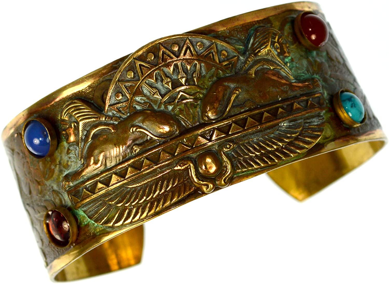 Egyptian Motif Patina Brass Dual Sphinx Cuff Bracelet - Semiprecious Stones