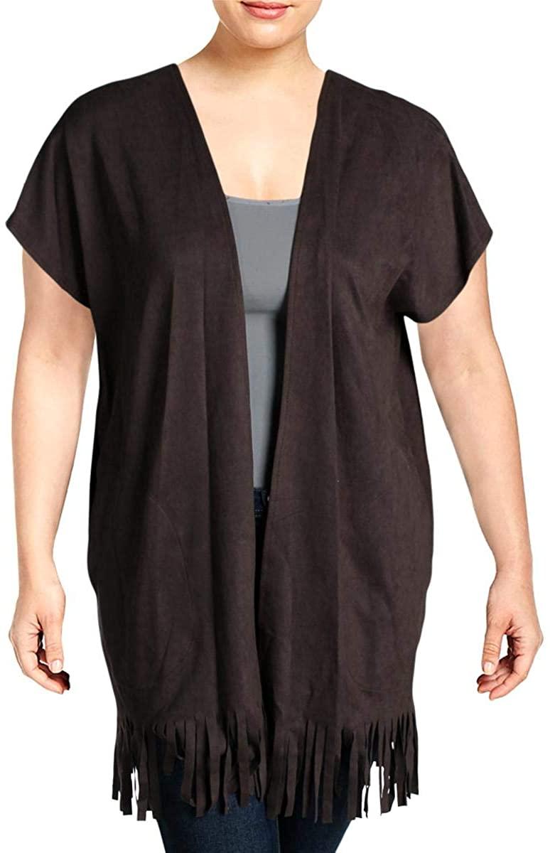 Cupio Womens Faux Suede Open Front Casual Vest