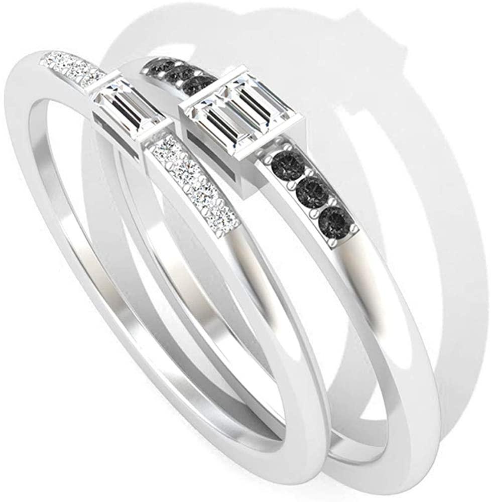 0.23 Carat Baguette Certified Diamond Bridal Matching Ring Set, Black Diamond Wedding Anniversary Ring for Women, Birthday Promise Stackable Ring Gift, 10K Gold