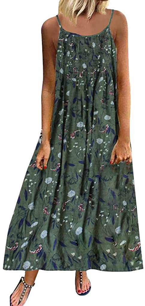 Gibobby Long Dress For Women, Print Maxi Dress Boho Straps Dress Dress