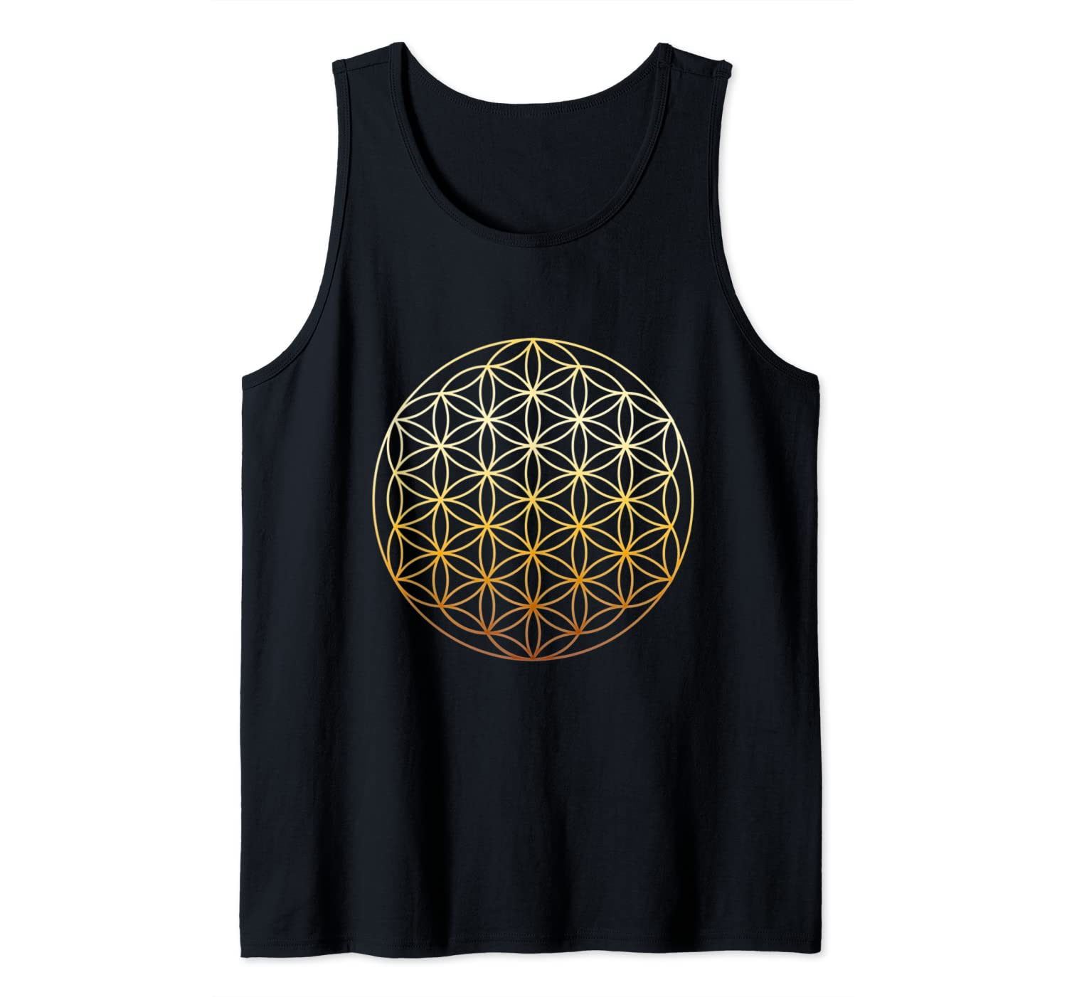 Flower Of Life Symbol Sacred Gold Geometry Tank Top