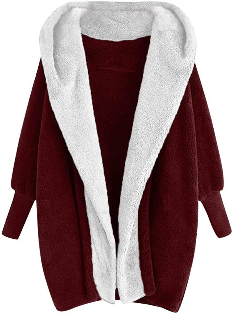 TWGONE Fall Cardigans for Women,Fuzzy Jacket with Hood for Women Hooded Sweatshirt Coat Winter Warm Plush Pockets Coat