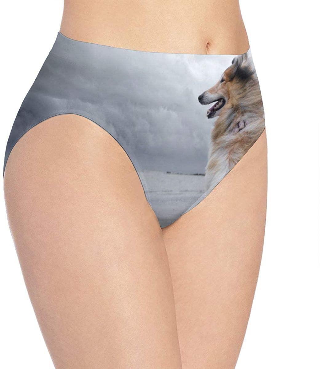 Loveful Personalized Shetland Sheepdog Dog Womens Stretch Seamless Underwear Laser Cut Brief Panties