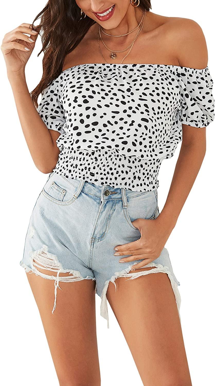 Hibluco Women's Off The Shoulder Crop Tops Smocked Waist Elastic Blouse Summer Tee