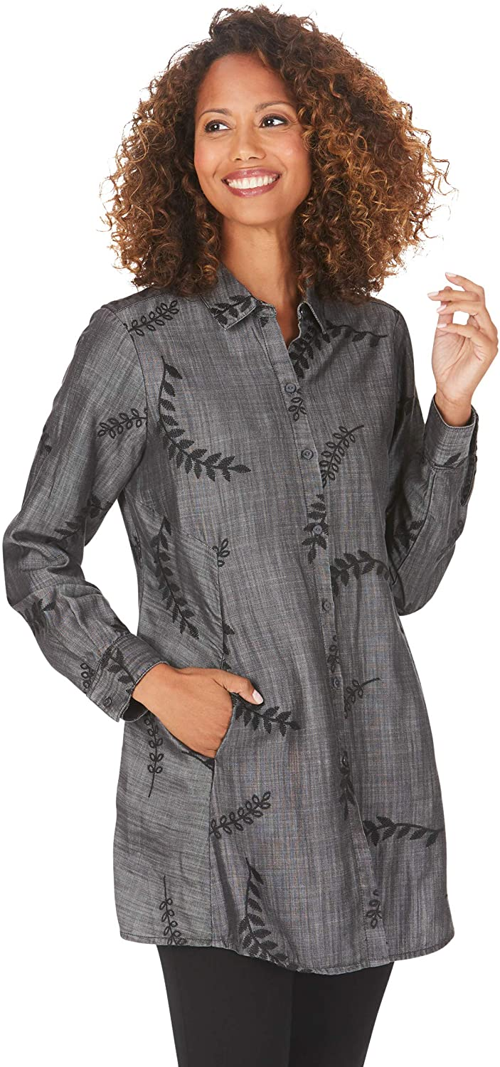 Foxcroft Cici LS Embroidered Tencel Tunic