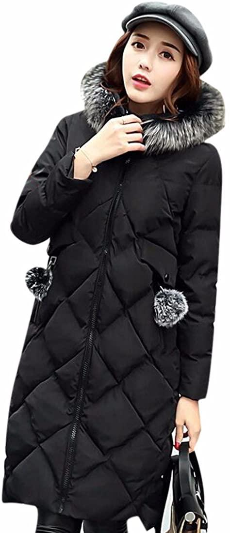 Paixpays Womens Winter Duck Down Jacket Coat Parka Hooded Zipper Long Outwear