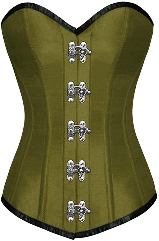 Olive Green Satin Goth Costume Plus Size Basque WaistShaper Long Overbust Corset