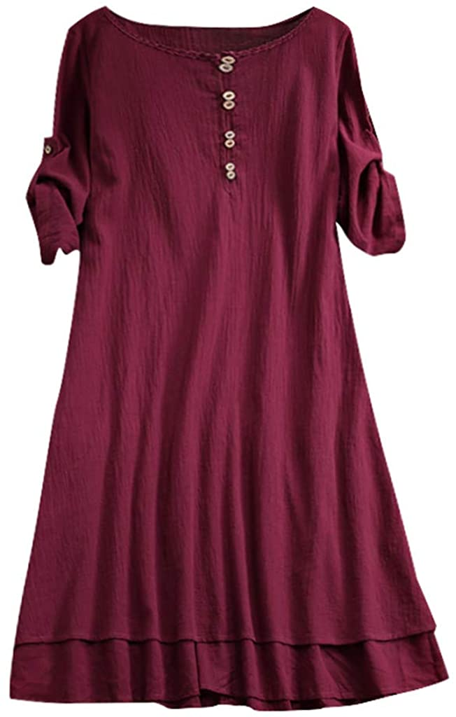 UOKNICE Dresses for Women, Spring Summer Casual Plus Size Round Neck Solid Half Sleeve Loose T-Shirt Tops Dress