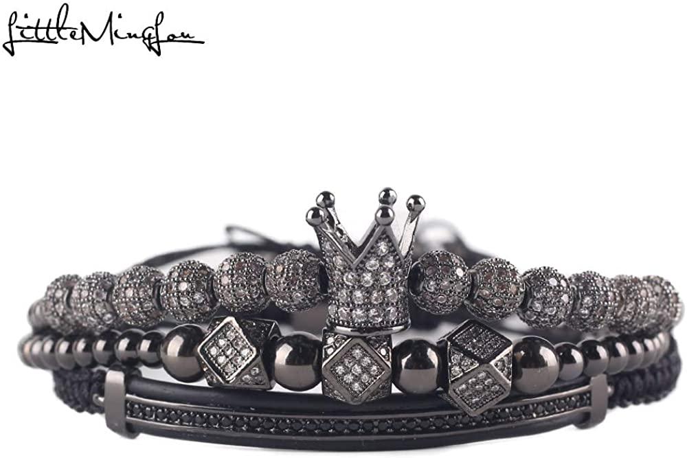 3 Pcs Charm Bracelets - Luxury CZ Polygon Ball Gold Crown King Bead Bangle Bracelets For Men Women Jewelry
