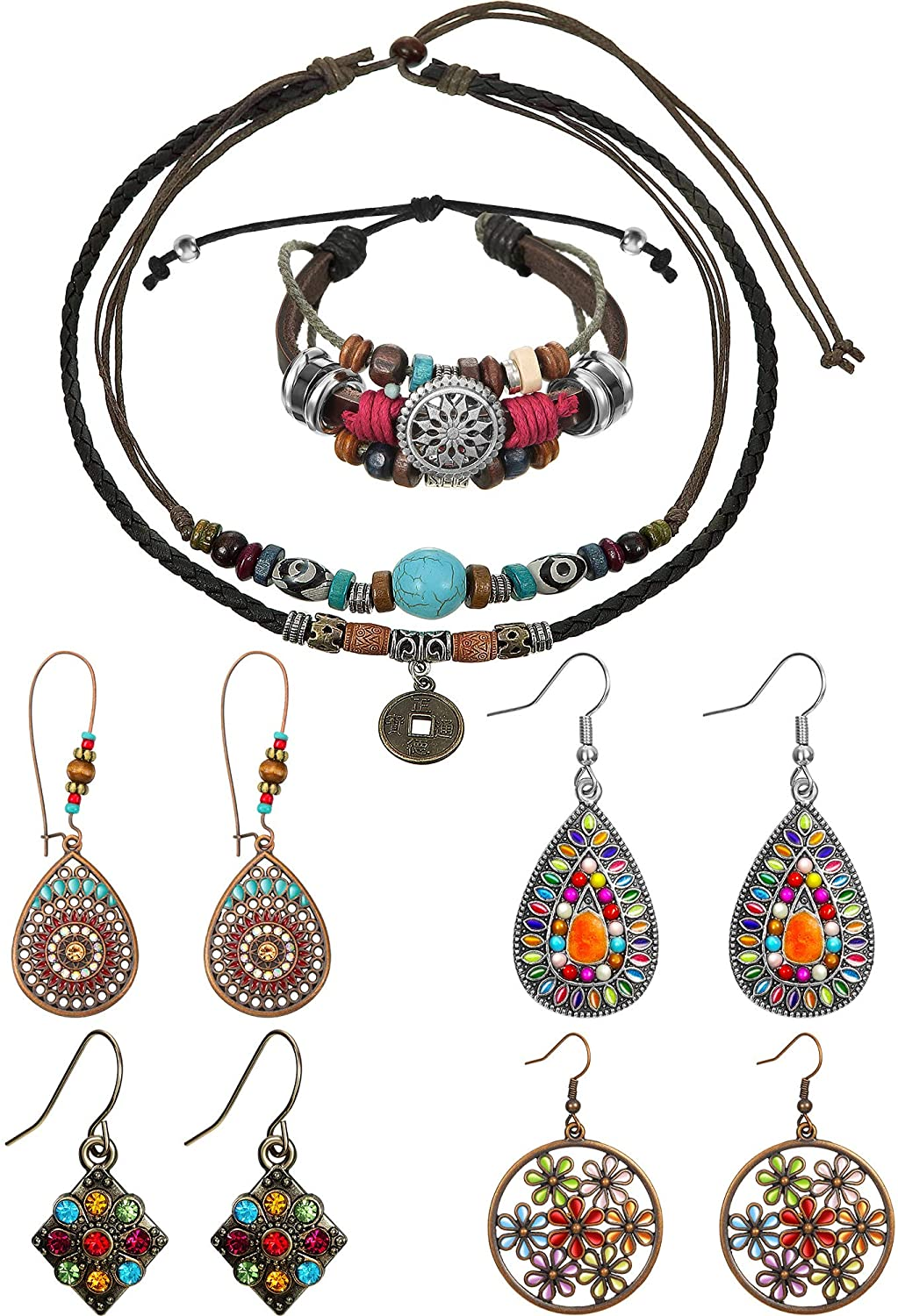 Hicarer Leather Necklace Bead Choker Adjustable Vintage Turquoise Necklace Handmade Woven Beaded Bracelet with 4 Pairs Bohemian Vintage Dangle Earrings Jewelry for Women
