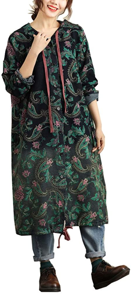 maydaiyar Vintage Plus Size Windbreaker Women Long Sleeve Trench Coat with Hoodies Print